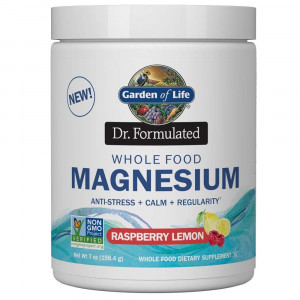 Garden of Life Dr. Formulated Whole Food Magnesium 198.4g Powder, Raspberry Lemon, Chelated Non-GMO Vegan Kosher Gluten and Sugar Free Supplement with Probiotics, Best for Anti-Stress Calm and Regularity