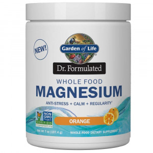 Garden of Life Dr. Formulated Whole Food Magnesium 197.4g Powder - Orange, Chelated, Non-GMO, Vegan, Kosher, Gluten and Sugar Free Supplement with Probiotics - Best for Anti-Stress, Calm and Regularity