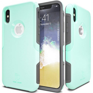 iPhone X Case, TEAM LUXURY [Defense-x Series] Dura Layer Shock Absorbing Technology Protective Phone Case Apple iPhone X/Xs 5.8 Inch (Soft Mint)