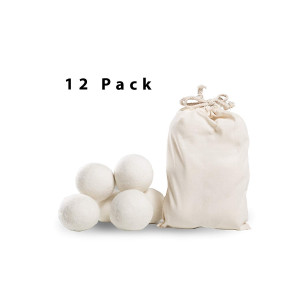 Laundry Wool Dryer Balls- Pack of 12,XL by Klickpick Home 100% Hand Made Organic Natural Fabric Softener,Unscented, Reduce Wrinkles, Shorten Drying Time, Anti Static Felted Wool Clothes Dryer Balls