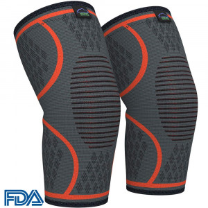Modvel Compression Knee Sleeve (1 Pair) - Ultra Flexible, Comfortable Knee Brace for Men and Women, Great for All Athletics, Volleyball, ACL, Stabilizer for Arthritis and Knee Pain Relief, M (MV-111)