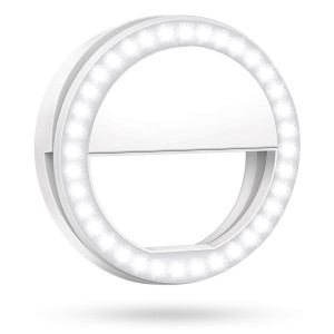 Meifigno Selfie Phone Camera Ring Light with [Rechargable] 36 LED Light, 3-Level Adjustable Brightness On-Video Lights Clips On Night Makeup Light Compatible for iPhone Sumsung Photography (White)