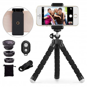 Telephoto Lens Kit,3 in 1 Cell Phone Camera Lens, Fisheye Lens+Wide Angle Lens+Macro Lens+Wireless Remote Shutter+Flexible Tripod for Smart Phone and Android More
