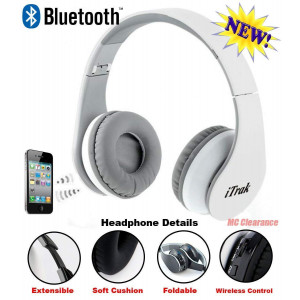 iTrak Wireless Bluetooth Headphone; Over Ear; Foldable; Noise Canceling; Audio Streaming and Call Microphone + USB Charging and Aux In Cable BTH024WMO (White)