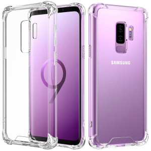 Samsung Galaxy S9 Plus Case, MoKo Crystal Clear Reinforced Corners TPU Bumper Cushion + Anti-Scratch Hybrid Rugged Transparent Panel Cover for Samsung Galaxy S9+ 6.2 Inch 2018 - Transparent