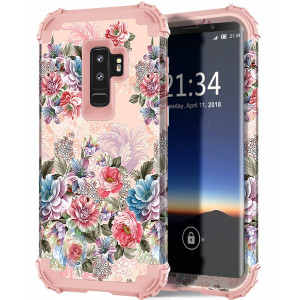 Galaxy S9 Plus Case, Hocase Heavy Duty Protection Shock Absorbent Silicone Rubber+Hard Plastic Hybrid Dual Layer Protective Phone Case for Samsung Galaxy S9 Plus (SM-G965) 2018 - Peony/Rose Gold