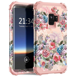 Galaxy S9 Case, Hocase Heavy Duty Protection Shock Absorbent Silicone Rubber+Hard Plastic Hybrid Dual Layer Protective Phone Case for Samsung Galaxy S9 (SM-G960) 2018 - Peony Flowers/Rose Gold