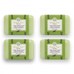Bisous de Provence French Soap, Green Tea The Vert Triple Milled Soap enriched with Shea Butter, 100% Pure Vegetable Based, Made in France, Paraben Free 4 x 7 oz (200g) Value Pack