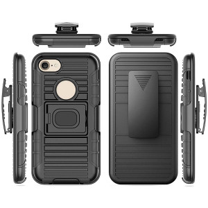 Benzob iPhone 7 / 8 Armor Case, Heavy Duty Shockproof Rugged Protection Holster Case Cover with Belt Swivel Clip and Built in Kickstand for iPhone 7 / 8 (Black)