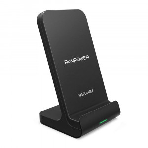 Wireless Charging Stand RAVPower 2 Coils Qi Certified Fast Wireless Charger 10W Qi for Galaxy S9, S9+, S8, S7 and Note 8, 5W Compatible iPhone XS MAX XR X 8 Plus and All Qi-Enabled Devices (Black)