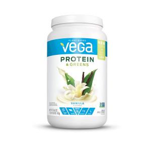 New Vega Protein and Greens Vanilla (25 Servings, 26.8 oz tub) - Plant Based Protein Powder, Gluten Free, Non Dairy, Vegan, Non Soy, Non GMO