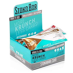 New! Stoka Bars - Keto, Paleo, Low Carb/Glycemic (VANILLA ALMOND and COCO ALMOND Variety Box) 4g Net Carbs, 9g Protein, 5g Fiber, All Natural - Sustained Energy! 8 Count