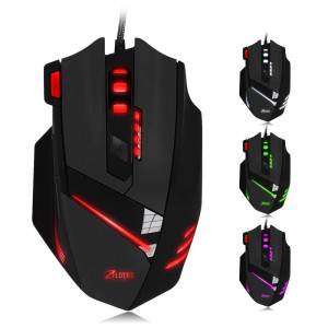 Zelotes T60 Gaming Mouse 7200 DPI 7 Buttons Wired USB Computer Mice for PC Mac Multi-Modes LED Lights Black