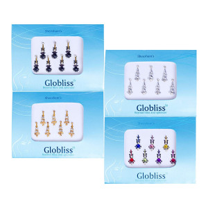 Globliss 4 Packs with 28 Long Indian Bindis face Gems Forehead Sticker Silver Golden Black Colorful