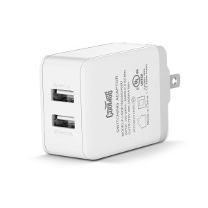Dual Port USB Travel Wall Charger Smart ID,UL Certified Charger,cooligg Ultra-Compact Wall Charger Foldable Plug