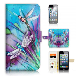 ( For iPhone 8 Plus / iPhone 7 Plus ) Flip Wallet Case Cover and Screen Protector Bundle - A21094 Dragonfly