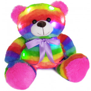 """The Noodley 14"""" LED Light Up Rainbow Teddy Bear with Timer Colorful Stuffed Animal Night Light Kids Gift"""