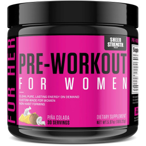Pre Workout for Women with L Arginine - Energy, Stamina, Healthy Weight Loss | Non-GMO and Non-Habit-Forming | Nitric Oxide Booster Powder Supplement - Sheer Strength Labs, 30 Servings