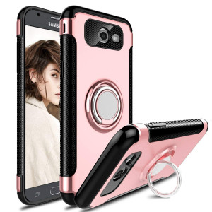 Galaxy J3 Emerge Case, J3 2017 Case, J3 Prime Case, Elegant Choise Hybrid Dual Layer 360 Degree Rotating Ring Kickstand Defender Protective Case with Magnetic Case Cover for J3 2017 (Pink)