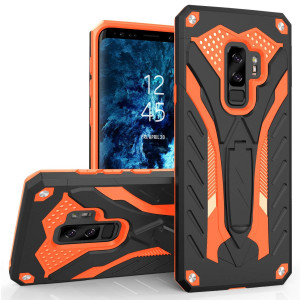 Zizo Static Series Compatible with Samsung Galaxy S9 Plus Case Military Grade  Drop Tested with Built in Kickstand Black Orange
