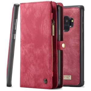 Galaxy S9 Wallet Phone Detachable Case XRPow Samsung S9 Multi-Functional Folio Flip Vegan Leather Wallet Removable Magnetic Back Cover 11 Card Slots and 3 Cash Pocket Shock Protection Cover RED
