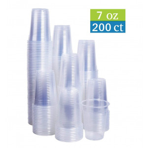 TashiBox 7 oz clear plastic cups - 200 count - Disposable cold drink party cups