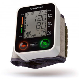 Automatic Wrist Blood Pressure Monitor by Paramed:Blood-Pressure Kit of Bp Cuff + 2AAA and Carrying case - Irregular Heartbeat Detector and 90 Readings Memory Function and Large LCD Display - FDA approved