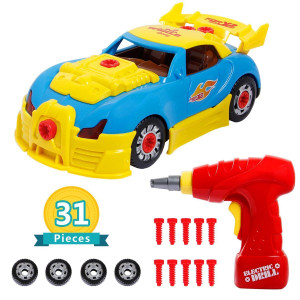 iFixer Take Apart Race Car Toy for Kids Birthday Gift Present, 31 Pieces Upgraded Educational Construction Toys Kit with Tools Drill Real Lights and Sounds, Best Gift for Kids Boys Girls
