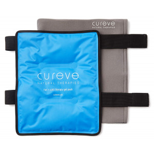 "Large Hot and Cold Therapy Gel Pack with Wrap by Cureve (12"" x 15"") - Reusable Ice Pack with Wrap to Treat Injuries, Aches and Pains on Hip, Knee, Side, Back and Shoulder"