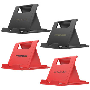 MoKo [4 Pack] Cellphone/Tablet Stand, Foldable Multi-Angle Desktop Holder for iPhone Xs/XS Max/XR/X/8 Plus/8, Galaxy S9/S9 Plus/Note 8/Note 9, iPad Pro 11 2018, Nintendo Switch, Black and Red