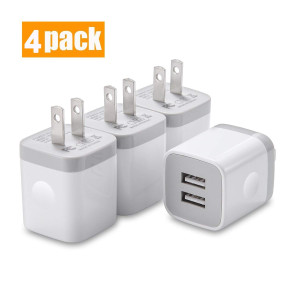USINFLY USB Wall Charger, UL Certified 4-Pack 2.1A/5V USB Plug Dual Port Charger Block Power Adapter Charging Cube Compatible with iPhone 8/7/6S/6S Plus, X Xs Max XR, Samsung, Android, and More(White)