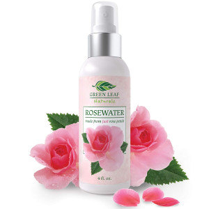 Organic Rosewater Spray Facial Toner for Face, Hair, Skin and Body - Made Pure and Natural for Women's Skincare by Green Leaf Naturals - 4 oz