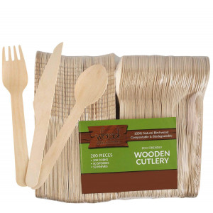 wood collection Disposable Wooden Cutlery Set (Pack Of 200 Utensils) | 50 Knives, 50 Spoons and 100 Forks From Natural and Biodegradable Birchwood | Compostable Wooden Tableware For Parties.