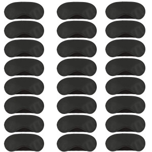 Aneco 24 Pack Soft Eye Mask Shade Cover Sleeping Blindfold with Nose Pad and Adjustable Strap for Travel Sleep or Party Game, 4 Layer Shading, Black