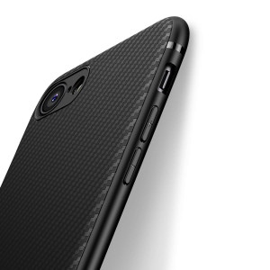 iPhone 7 Case iPhone 8 Case, iCOCEN [Carbon Fiber Texture Design] Durable Light Shockproof Cover Slim Fit Shell Soft TPU Silicone Gel Bumper Case iPhone 7 (2016) / iPhone 8 (2017) 4.7 inch - Black