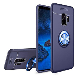 Newseego Samsung Galaxy S9 Case,360 Adjustable Ring Stand,Frosting Thin Soft Protective and Finger Ring Holder Kickstand Fit Magnetic Car Mount for Samsung S9-Blue+Blue