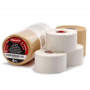 Mighty-X Athletic Tape - 3 Cotton Sport Tape + 1 PreWrap - Sports Tape Set - Climbing Tape - Climbing Tape - Boxing Tape - Athletic Tape White - Sports Tape Athletic - Ankle Tape Knee Tape Wrist Tape