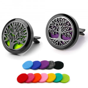 RoyAroma 2PCS Tree of Life Car Diffuser Aromatherapy Essential Oil Diffuser Stainless Steel Locket Air Freshener with Vent Clip 12 Felt Pads-Black