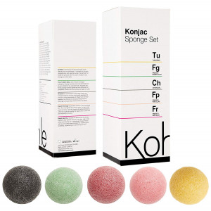 Konjac Sponge Set (5 Pack): Organic Skincare Face and Body Cleansing + Exfoliating Sponges, 100% Pure Facial and Hypoallergenic #1 UK BESTSELLER. Charcoal, Turmeric, French Green, Red and Pink Clay.