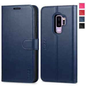 Galaxy S9 Plus Case, TUCCH Samsung S9 Plus Wallet Case, PU Leather Phone Case [Card Slot] [Flip] [Stand] Carry-All Case [TPU Interior Protective Case] [Magnetic Closure] for Galaxy S9 Plus, Blue