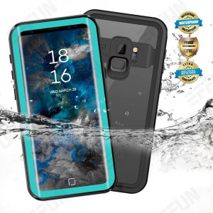 Samsung Galaxy S9/S9 Plus Waterproof Case, Effun IP68 Certified Waterproof Underwater Cover Dustproof Snowproof Shockproof Case with Phone Stand, PH Test Paper and Floating Strap Black/White/Aqua Blue