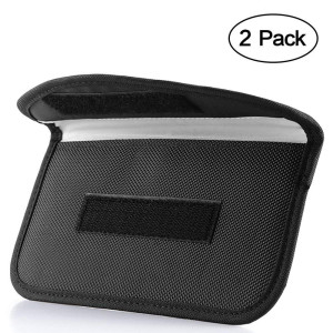 Signal Blocking Bag, ONEVER [2 Pack] GPS Rfid Faraday Bag Shield Cage Pouch Wallet Phone Case for Cell Phone Privacy Protection and Car Key FOB, Anti-tracking Anti-spying