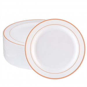 WDF 60pcs Disposable Plastic Plates-7.5inch Salad/Dessert Plates- Rose Gold Trim Real China Design - Premium Heavy Duty Plastic Plates for Wedding/Parties