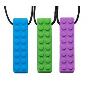 Chew Chew Sensory Lego Teether Necklace 3-Pack  Best for Autism, Biting and Teething Kids  Durable and Strong Silicone Chewy Toys - Chewing Pendant for Boys and Girls - Fidget Chewlery Necklaces