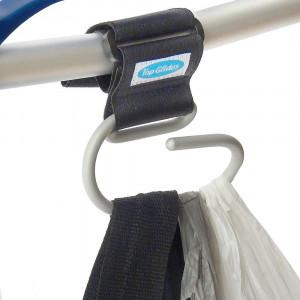 Top Glides Jumbo Swirly Hook for Strollers/Walkers, Silver/Black (Silver)