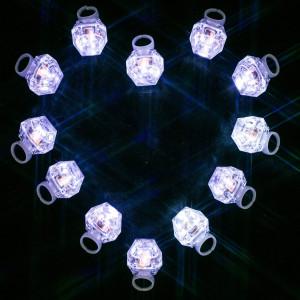 MIDAFON White Led Rings 24 Pack LED Light Up Diamond Bling Rings LED Glow Rings Light Up Flashing Rings Plastic Diamond Kids Play Rings