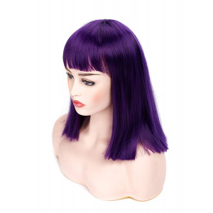 "Morvally 14"" Short Straight Bob Wig with Flat Bangs Natural Looking Heat Resistant Hair Cosplay Costume Daily Wigs (Dark Purple)"