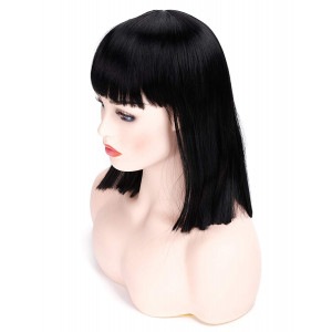 """Morvally 14"""" Short Straight Bob Wig with Flat Bangs Natural Looking Heat Resistant Hair Cosplay Costume Daily Wigs (Natural Black)"""