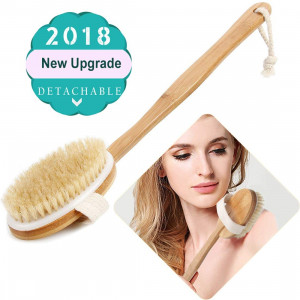 Bath Body Brush and Shower,Dry Skin Brushing with 100% Natural Boar Bristles and 16 inches Long Bamboo Detachable Handle,Back Scrubber for Exfoliates and Stimulates Blood Circulation-by QL-ben