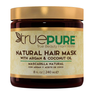 TruePure Natural Hair Mask With Argan Oil, Coconut Oil, Jojoba and Saw Palmetto | Deep Conditioner For Men and Women With Dry, Damaged or Color Treated Hair | Fragrance-Free Hair Repair Treatment, 8oz